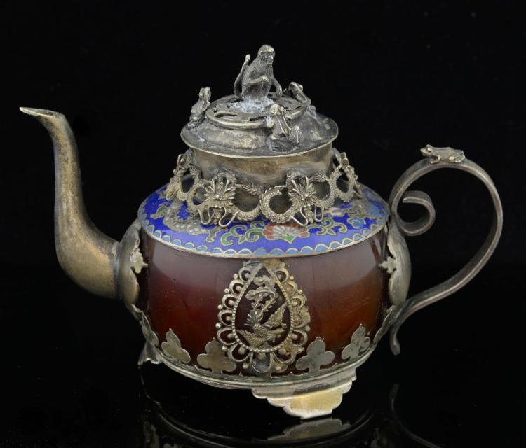 Chinese agate and silver mounted and cloisonne tea