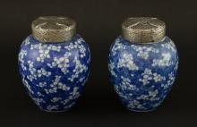 Pair of Chinese porcelain blue and white jars and