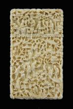 19th century Chinese ivory card case, carved in hi