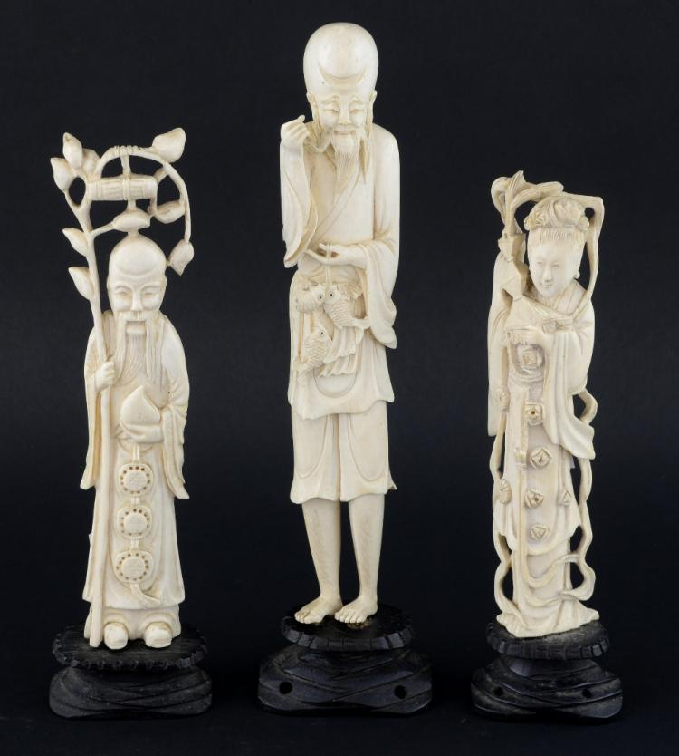 Chinese carved ivory figure of Shou-Lao holding a