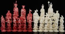 Cantonese ivory red and white chess set with eleph