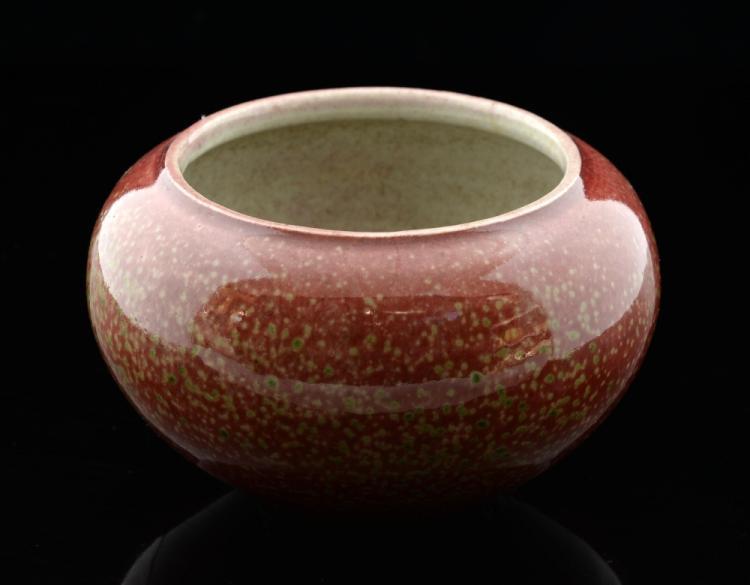 Chinese sang de boeuf low ovoid vase, underglaze b