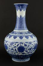 Chinese blue and white vase with floral decoration