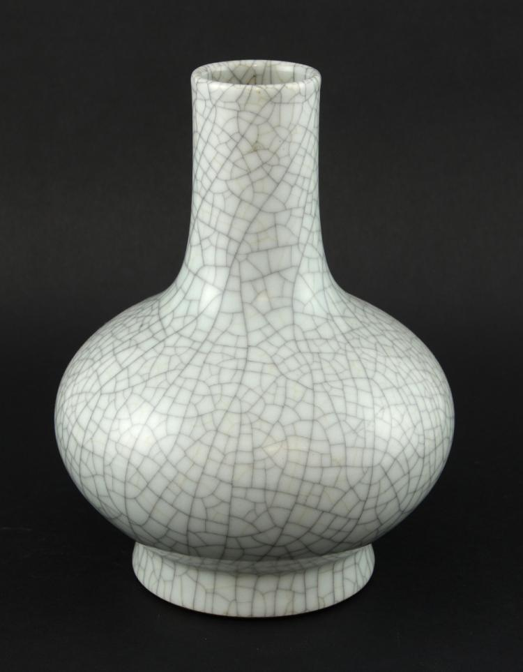 Chinese celadon glazed crackle vase, on round foot