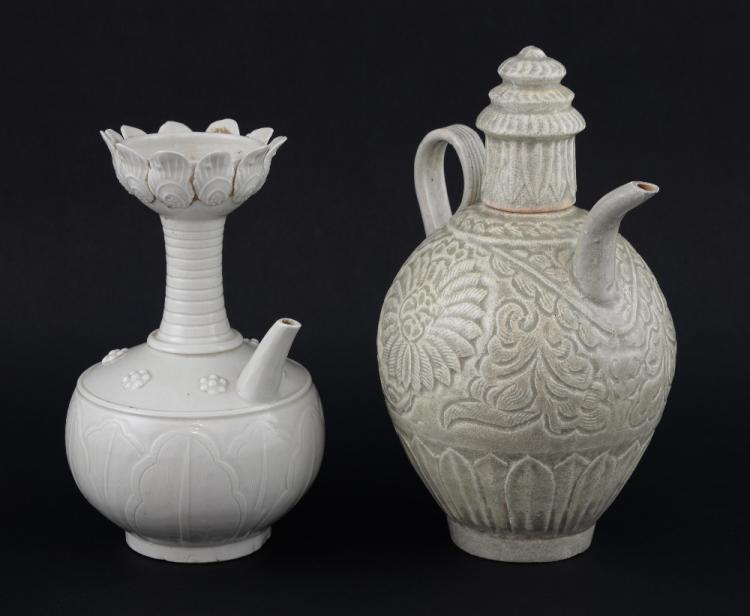 Chinese pottery wine pourer in a cream glaze with