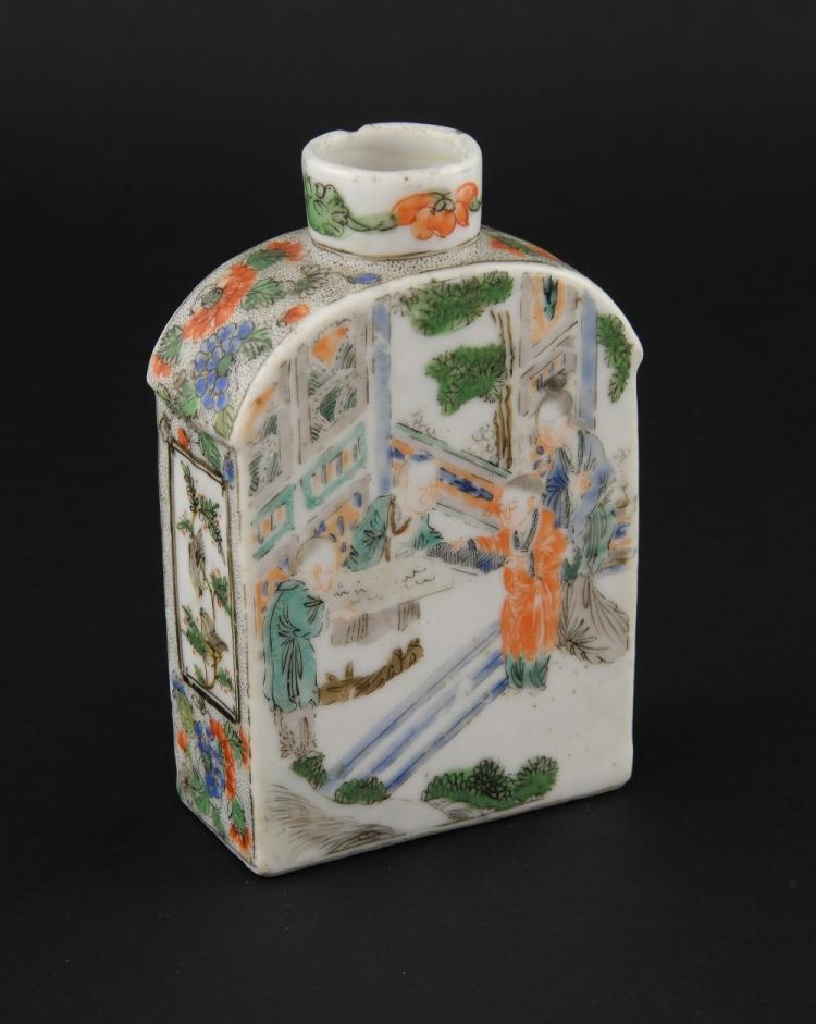 Famille verte tea canister decorated with figures