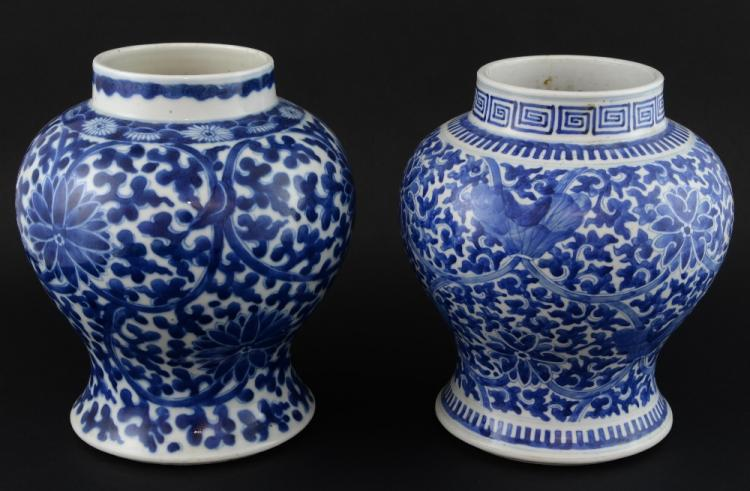 Two Chinese blue and white baluster shaped vases d