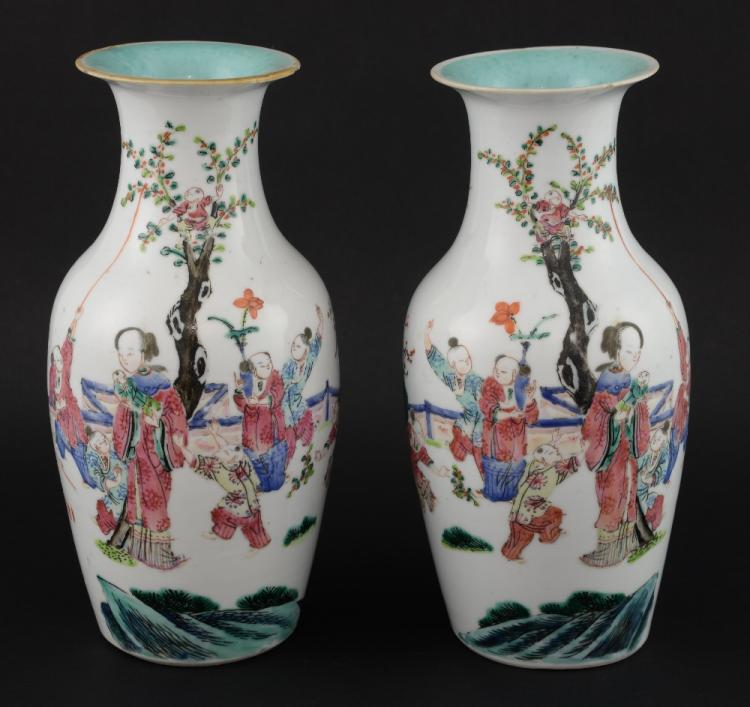 Pair of Chinese baluster shaped vases, decorated w