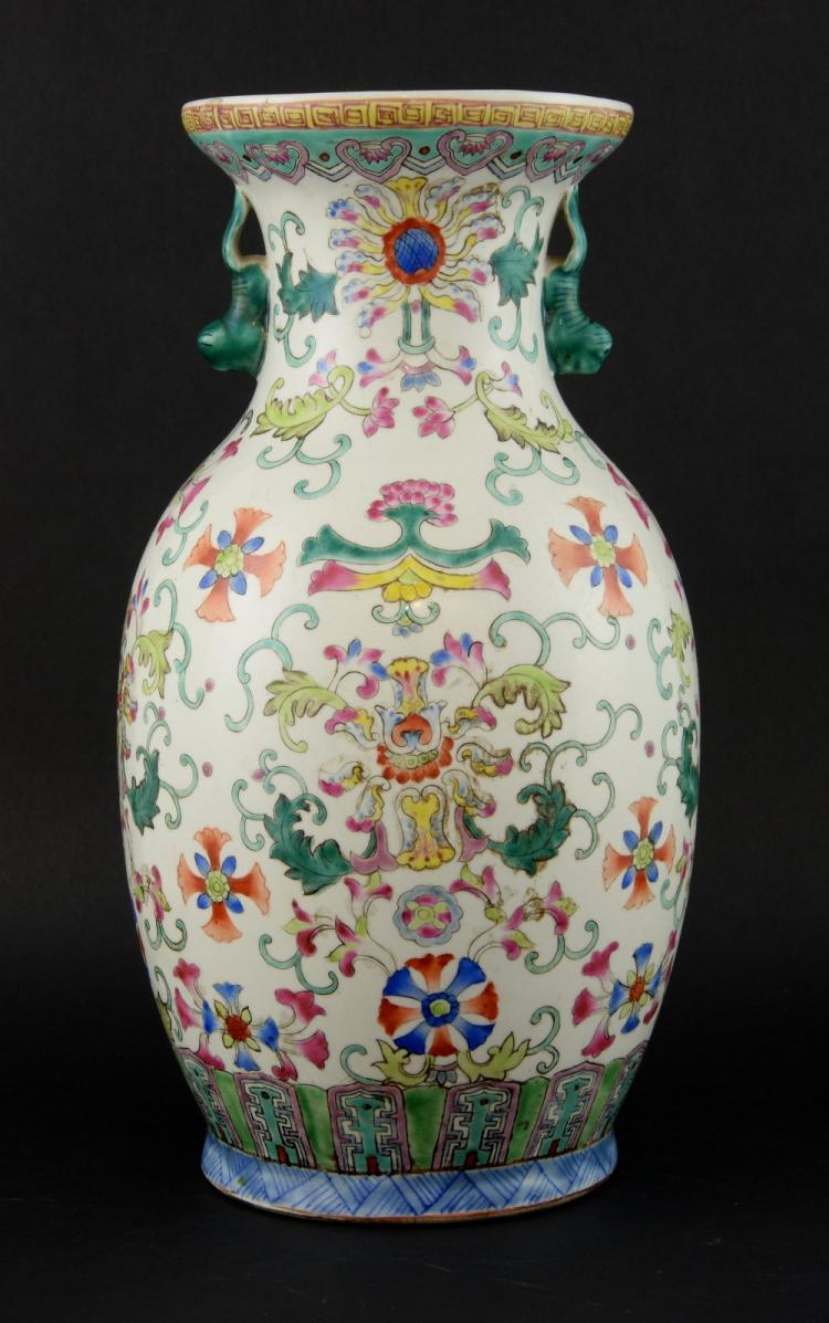19th century Chinese polychrome vase decorated wit