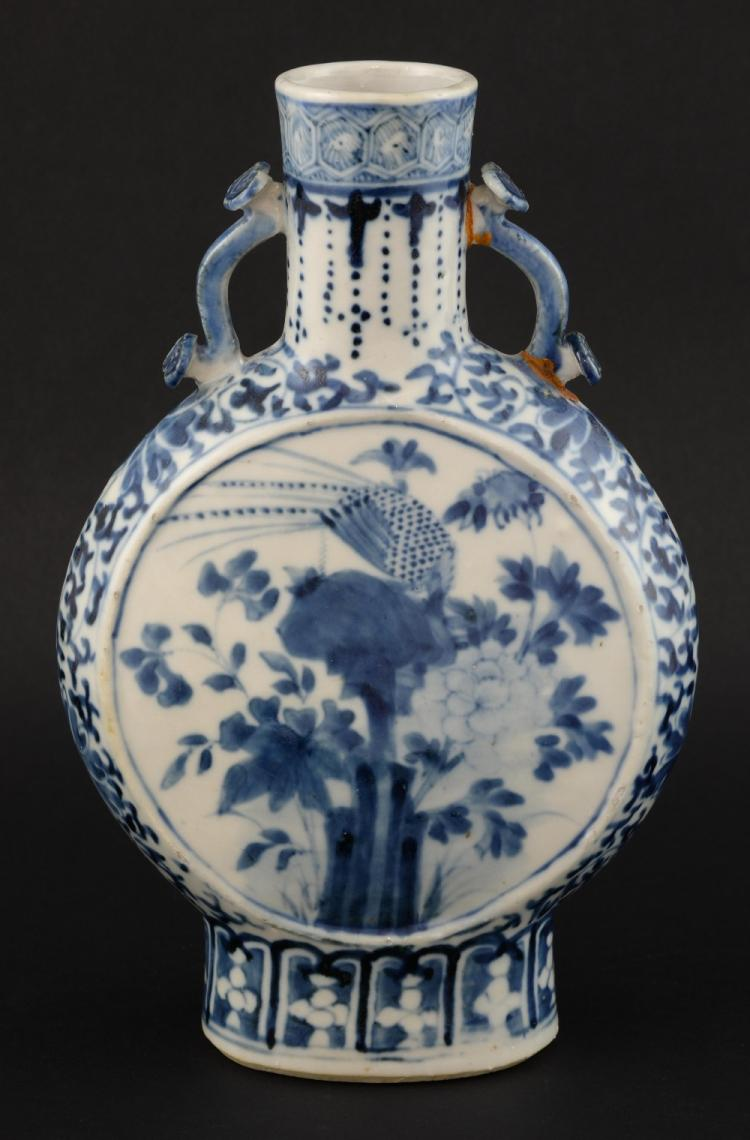 Chinese moonflask painted in under glazed blue wit