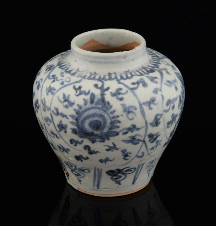 Chinese, late Ming blue and white vase, with flora
