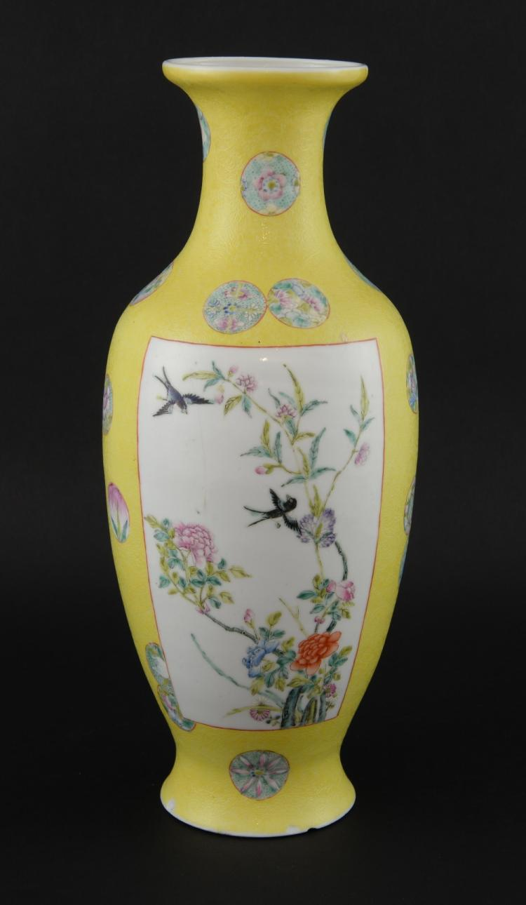 Chinese yellow ground vase with scrolling foliate