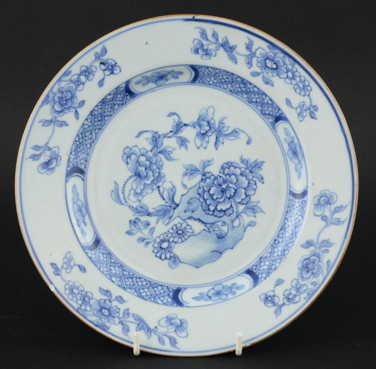 Chinese plate decorated in under glaze blue with r