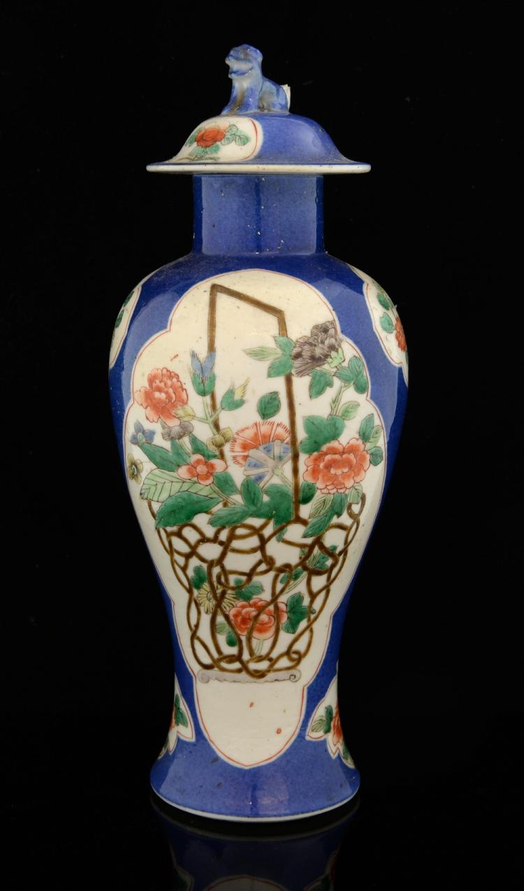 Chinese famille verte vase and cover, the blue gro