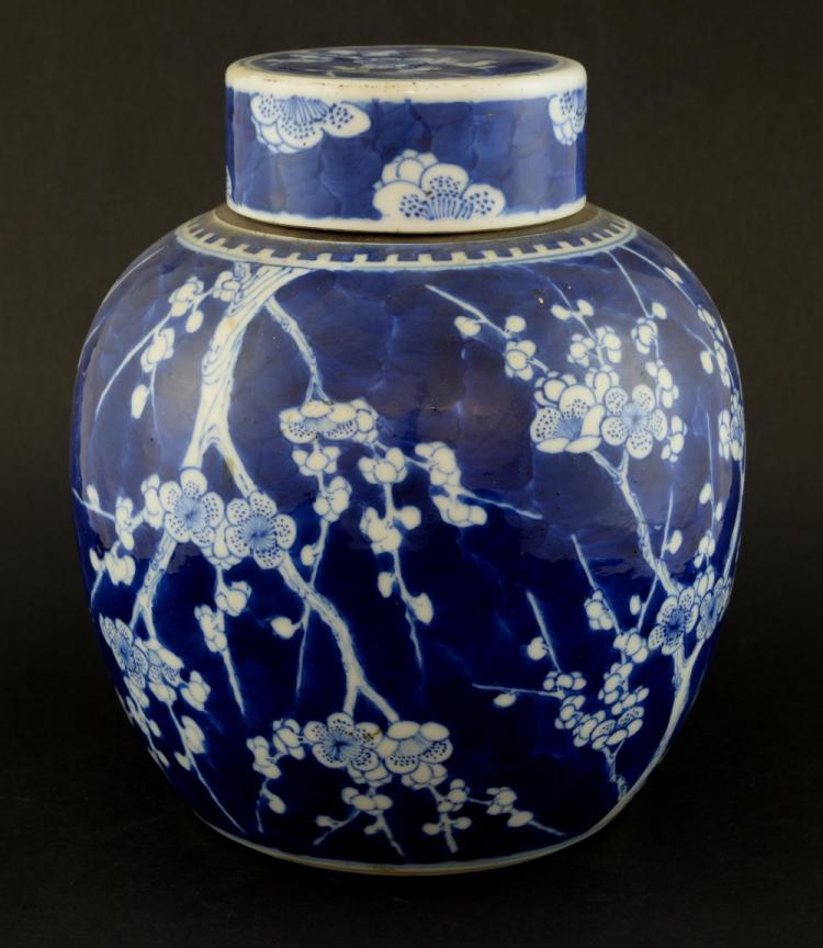 19th century Chinese blue and white ginger jar and
