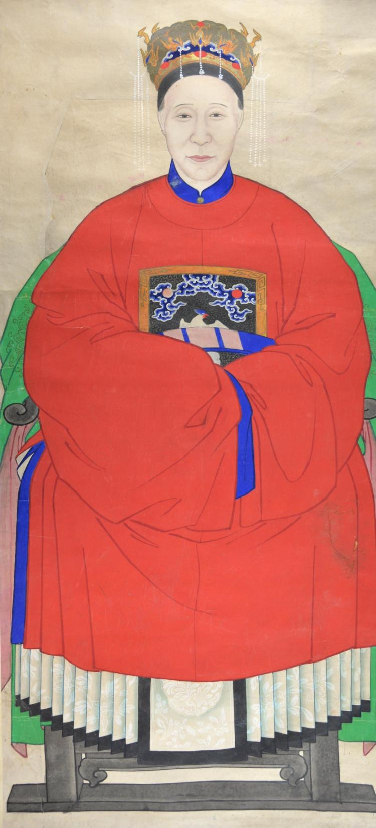 Chinese ancestral painted portrait scroll depictin