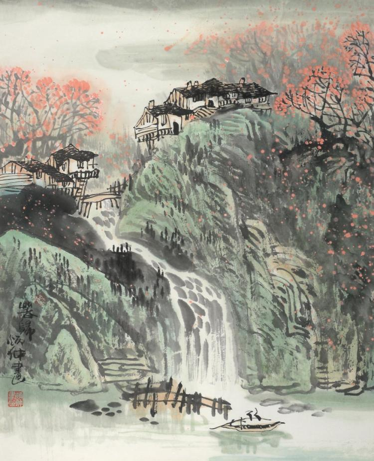 Pair of modern Chinese watercolour landscapes depi