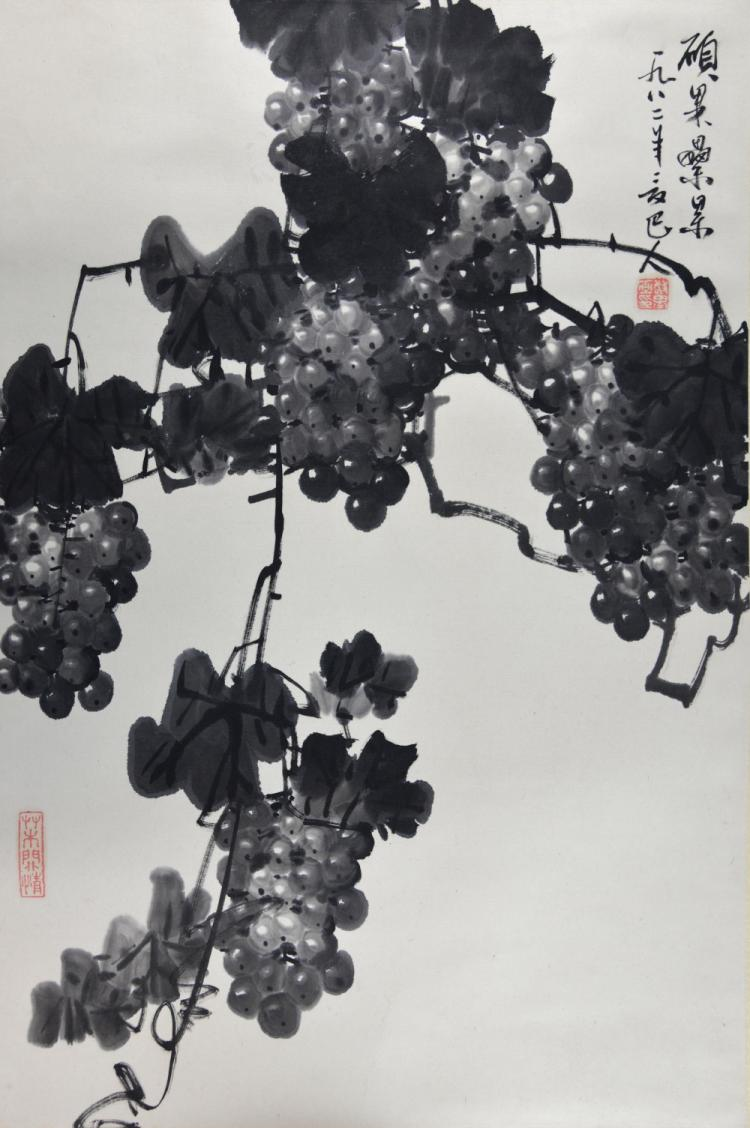 Chinese black and white scroll painting of grapevi