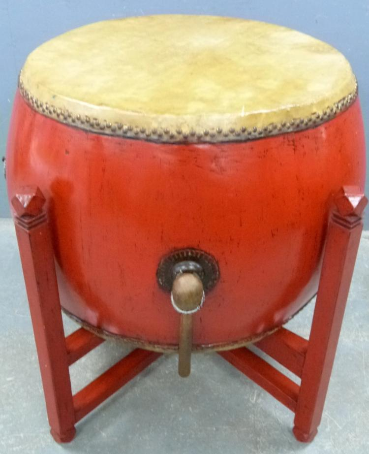 Chinese red lacquered ceremonial drum on stand wit