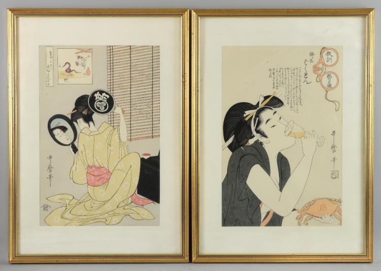 Two Japanese woodblock prints, the first depicting