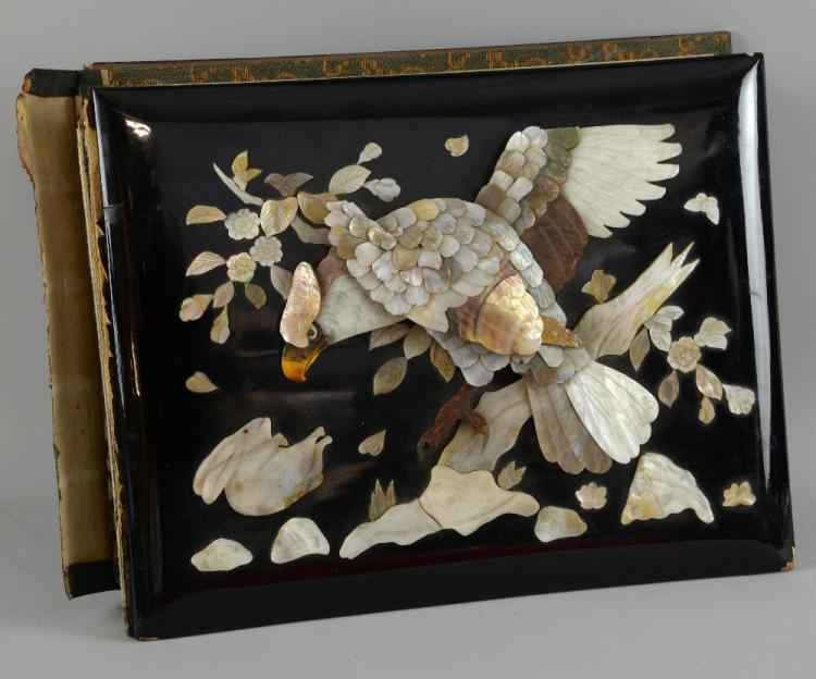 Japanese lacquered and mother-of-pearl mounted pos
