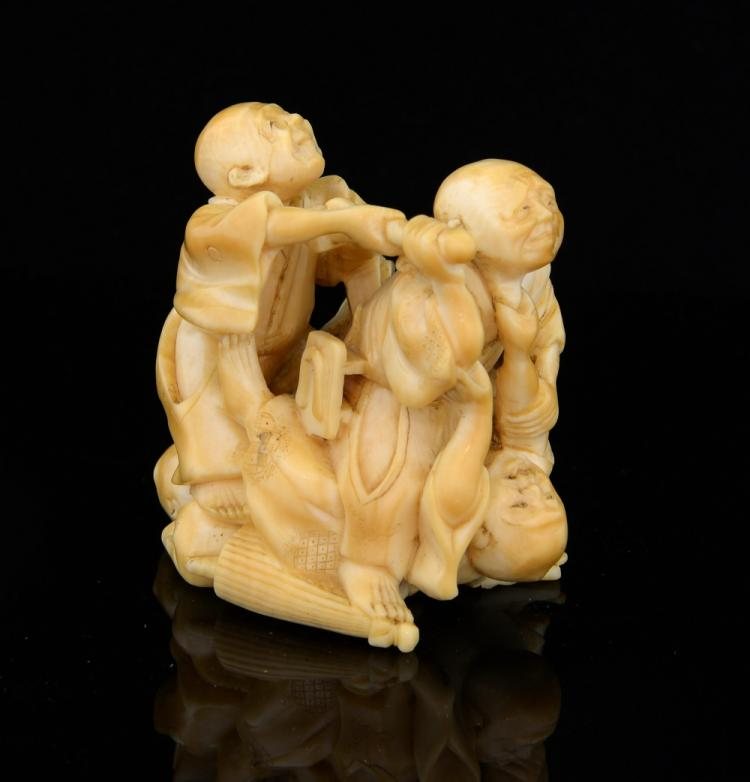 19th century Japanese ivory netsuke of three blind