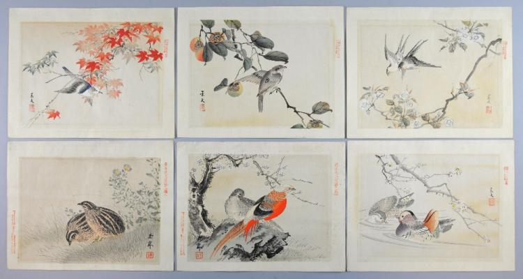 Six Japanese watercolours of birds, signed and wit