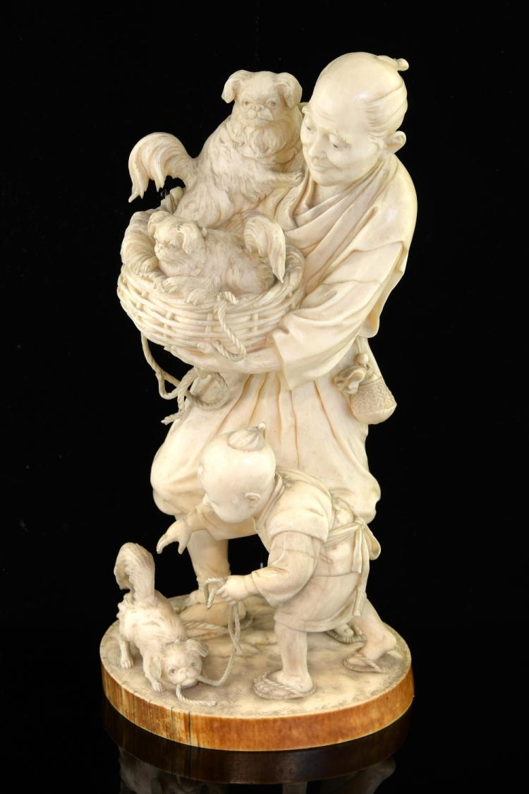 Late 19th century Japanese Tokyo School ivory okim