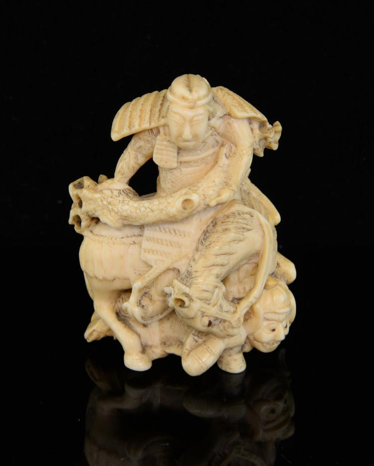 Late 19th century Japanese ivory netsuke of a man