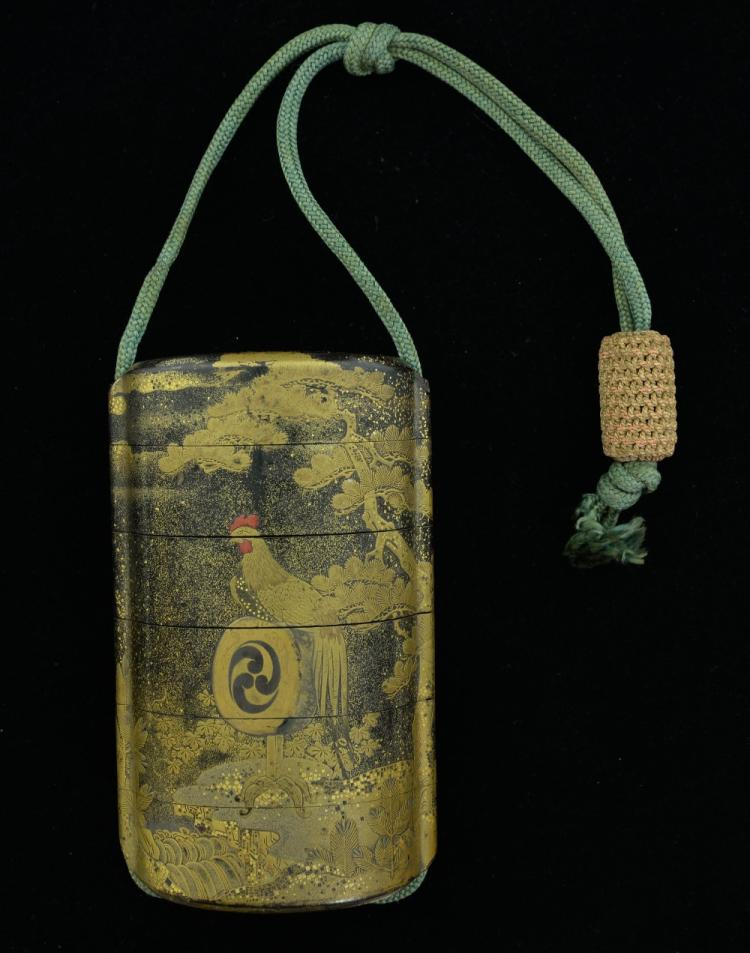 Japanese black lacquered and gilt six section inro