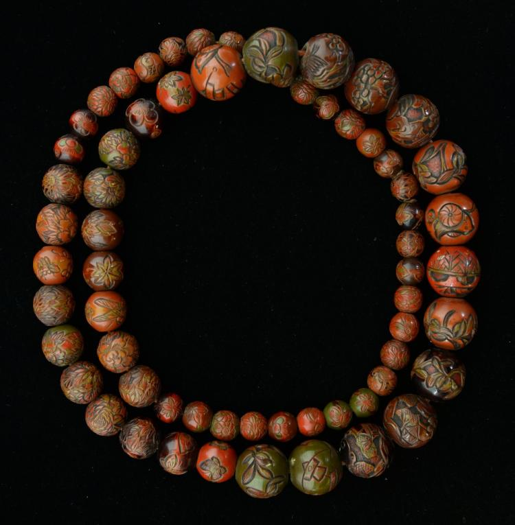 Japanese graduated lacquered and carved bead neckl
