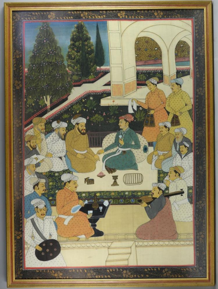 20th century Indian painting on fabric depicting f