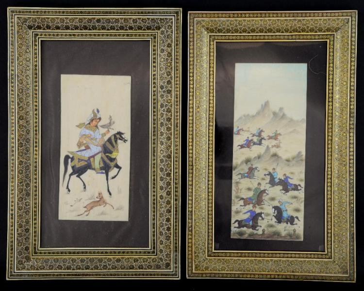 Two Indian paintings on bone, one of a rider, the