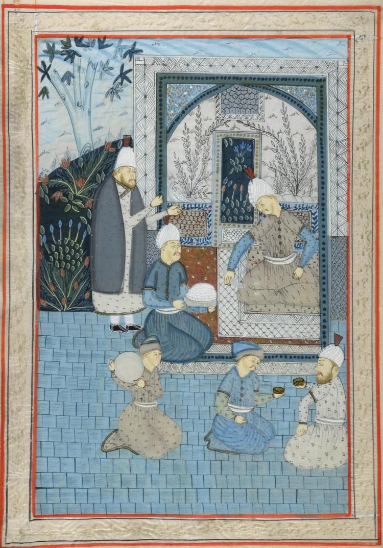 Persian painting on silk of a courtyard scene with