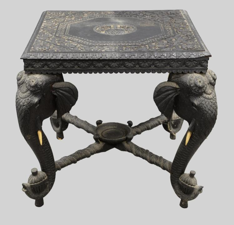 19th century Indian carved ebony table top with fl