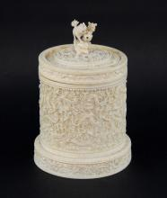 19th century Chinese carved ivory pot and cover decorated with dragons, 19cm high,PLEASE NOTE: THIS ITEM CONTAINS OR IS MADE OF IVORY. Buyers must be aware that regulations of several countries, including USA, prohibit the import of ivory, or any goods containing ivory. Ewbank's advise prospective purchasers who intend to ship this lot to another country that they must familiarise themselves with the relevant import/export regulations prior to bidding. They are responsible for their shipping arrangements and the onus is therefore on them to organise their own shipping.