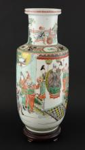 Chinese Famille Verte Rouleau vase, the body decorated with various figures, on wooden base, 48cm high,