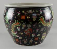 Chinese famille rose fish bowl, the black ground d