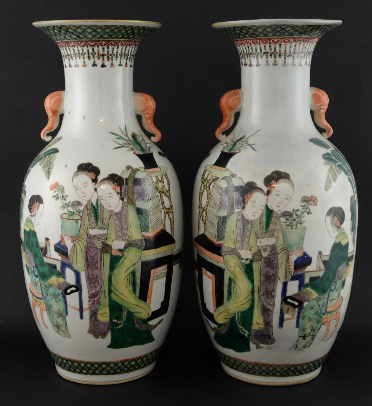 Pair of Chinese famille verte vases decorated with