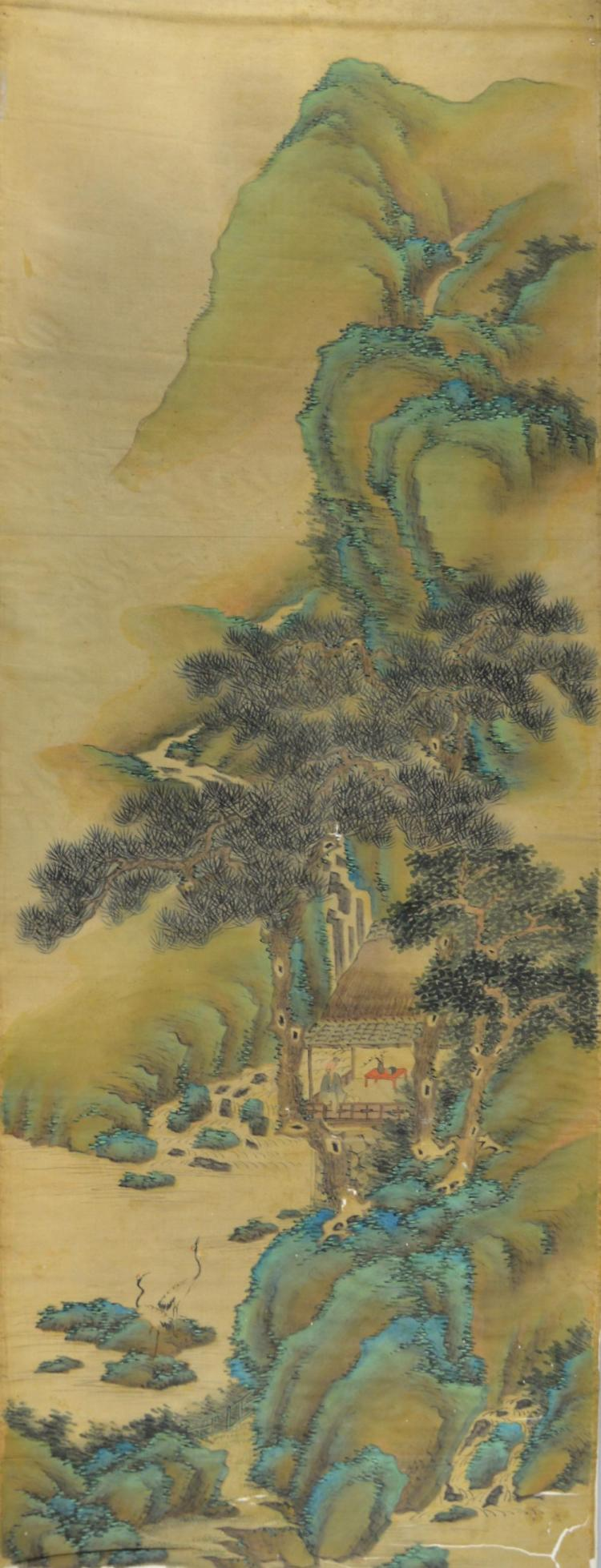 Chinese watercolour on silk, depiction a scholar w