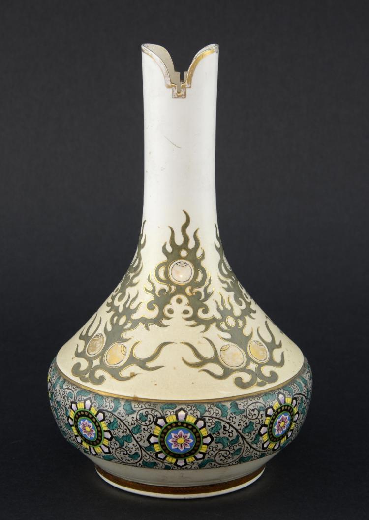 20th century Japanese bottle vase decorated with f