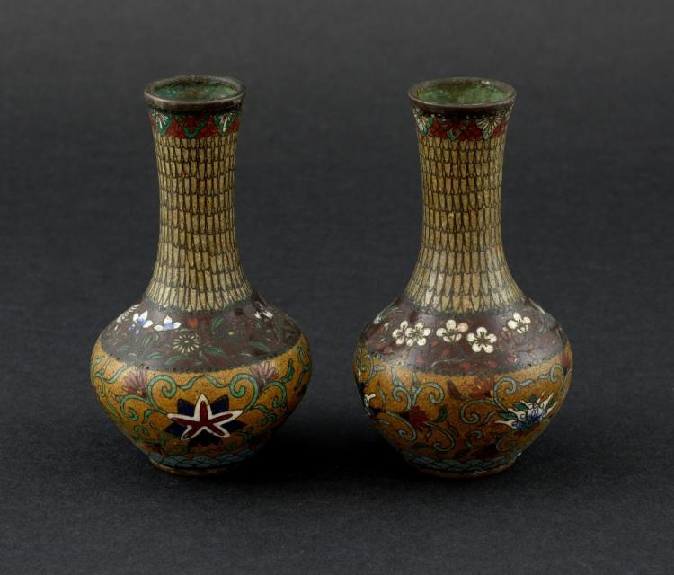 Pair of Japanese cloisonne vases decorated with st