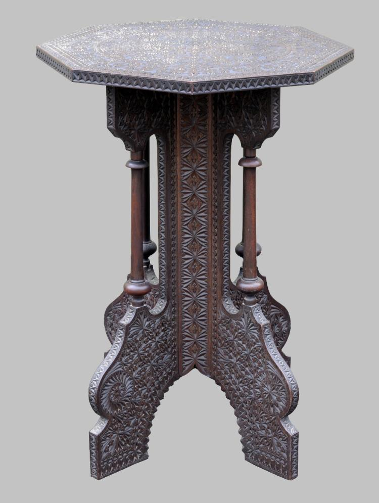 Indian octagonal table on x-frame support, 70cm hi