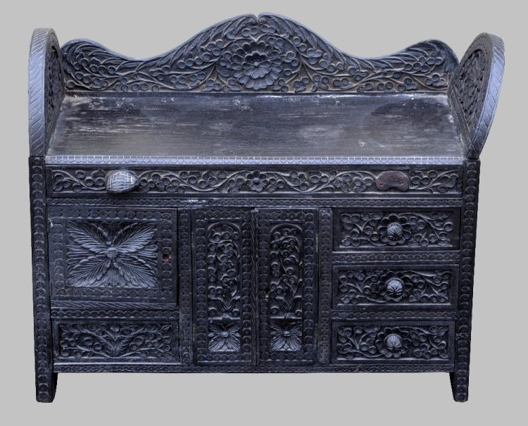 19th century Indian carved ebony table top chest w