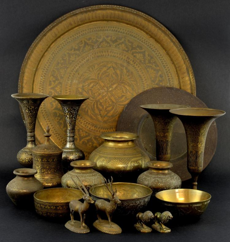 Collection of Indian metal ware to include pairs o