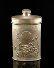 Chinese silver talcum flask decorated with Chrysan