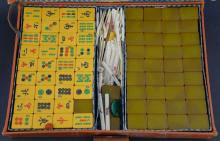 20th century Mah-jong set in leather case,