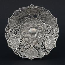 Chinese silver bowl with pierced and embossed deco