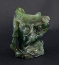 Chinese carved hard stone brush pot. 12cm