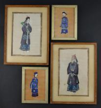 Pair of Chinese watercolours of figures on rice pa